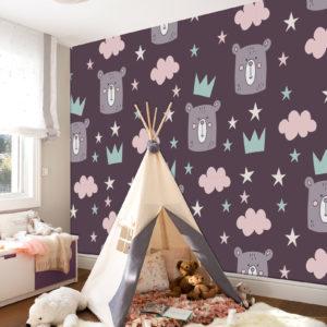 fotomural para habitación de niña en colores pasteles