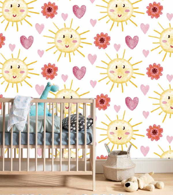 habitación con cuna decorada con soles