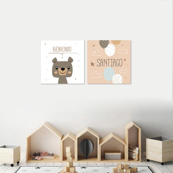 habitacion infantil decorada con cuadros en mdf