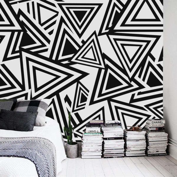 Patrón Triángulos Blanco y Negro