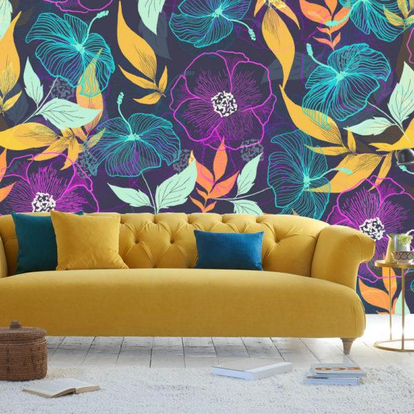 sofa amarillo con fotomural de flores