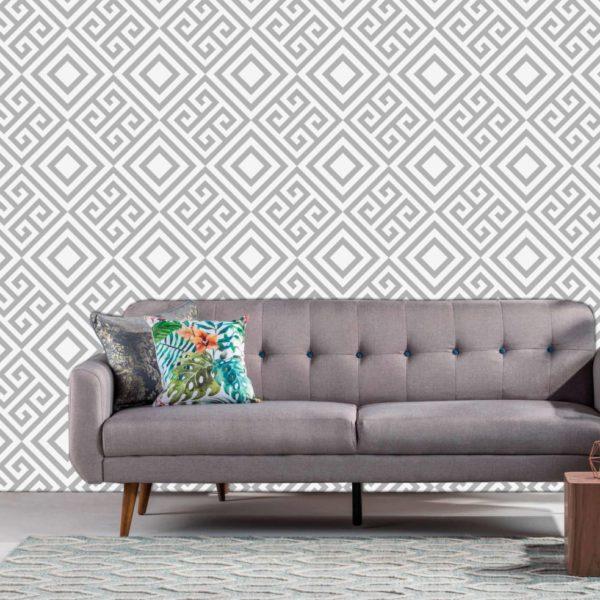 sala gris con fotomural