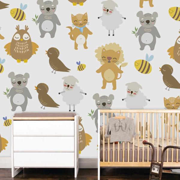 fotomural de animales para niño en una habitación