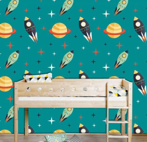 habitacion de un niño con fotomural de cohetes
